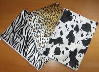 A4 Animal Print Design Flat Pencil Case. White Zipper ANPK