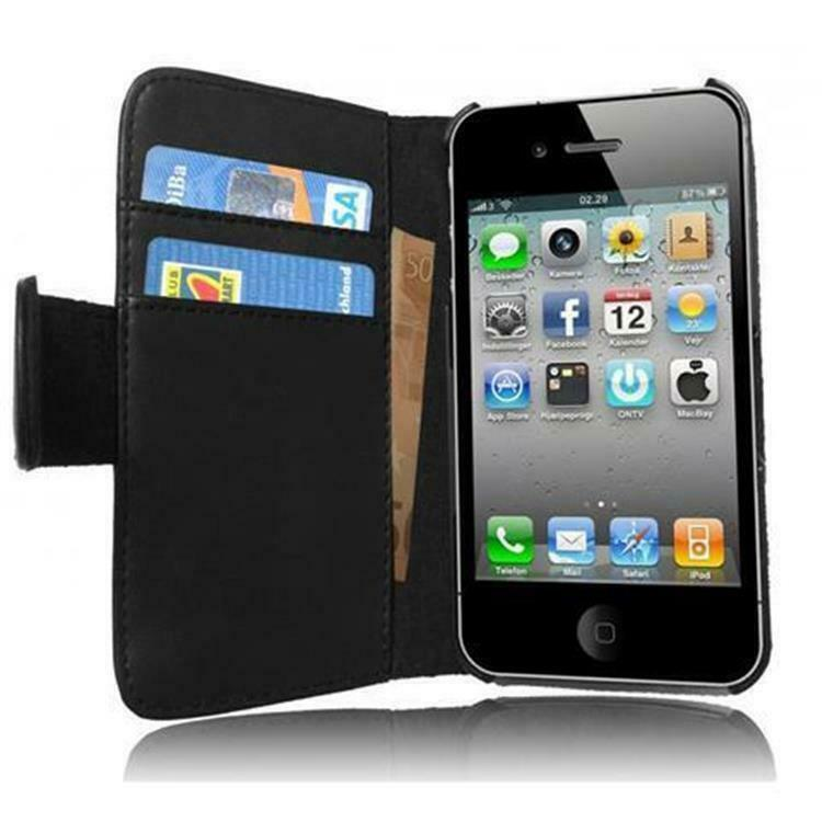 iphone 4 4s buch tasche h lle flip case schutzh lle etui. Black Bedroom Furniture Sets. Home Design Ideas