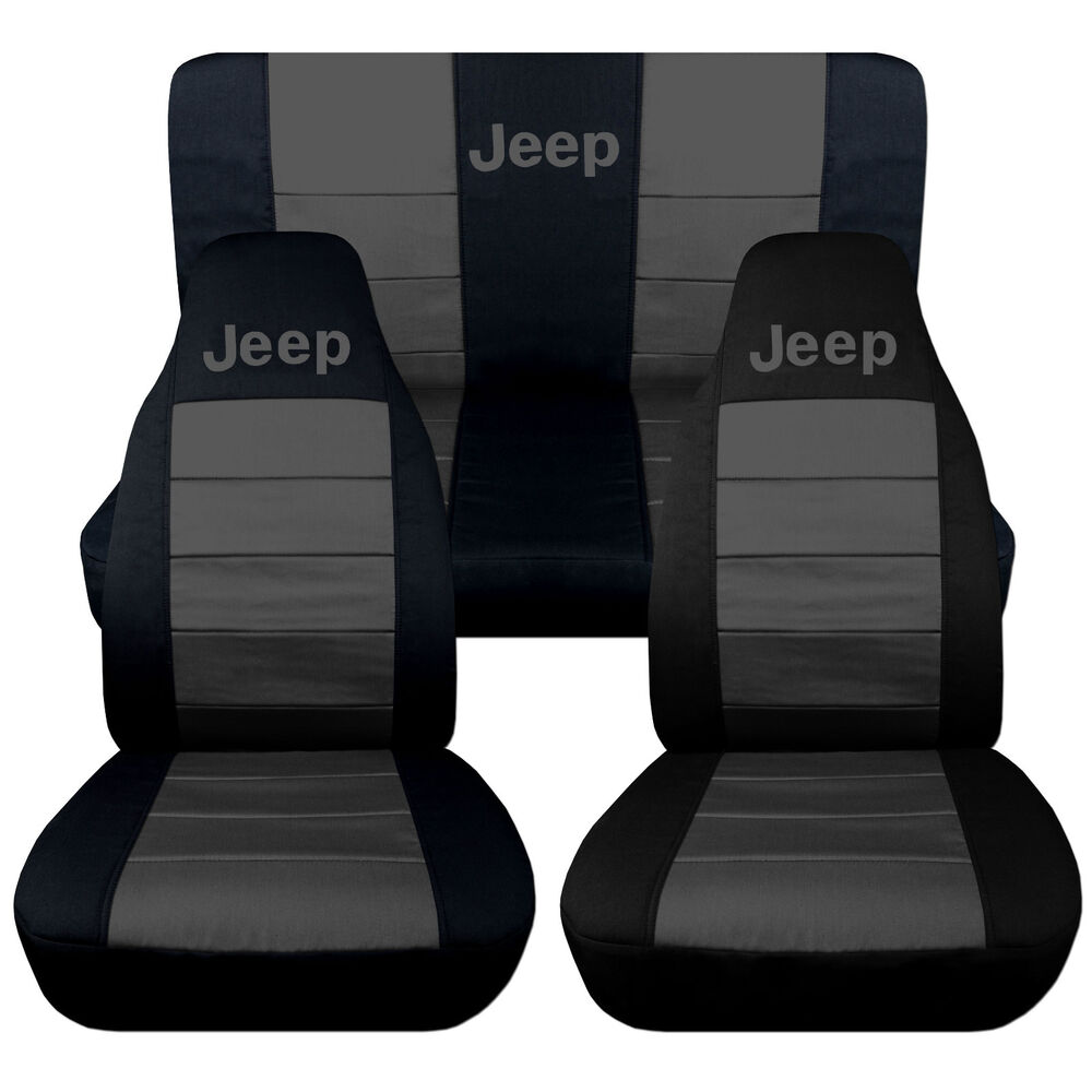 Jeep Wrangler Tj >> Jeep Wrangler TJ Front Back Car Seat Covers Black Charcoal w Jeep So Cool | eBay
