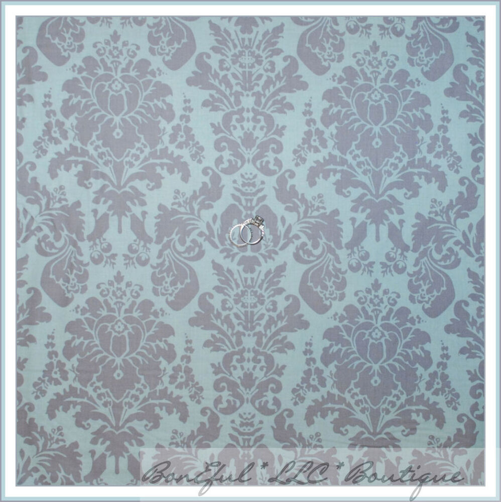 Boneful fabric fq cotton quilt baby blue gray brown damask for Grey baby fabric