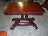 antique empire mahogany center or parlor table great claw feet double pedestalt