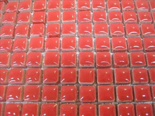 81 Small Mosaic Tile Sheet Tessera Ceramic Glazed Flame
