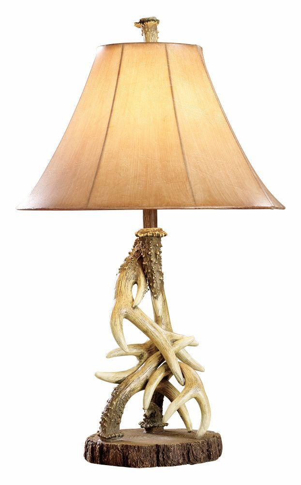 Deer Antler Table Lamp Rustic Cabin Lodge Wildlife Decor