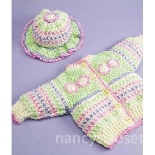 Crochet Baby Sweater And Hat Pattern : Crochet Pattern Baby Childs Cardigan, Hat & Blanket Petals ...