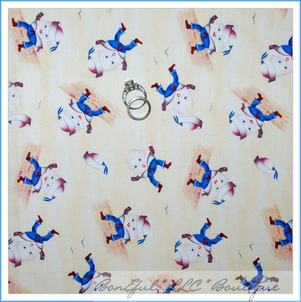 Boneful fabric fq cotton quilt baby boy nursery rhyme for Nursery fabric