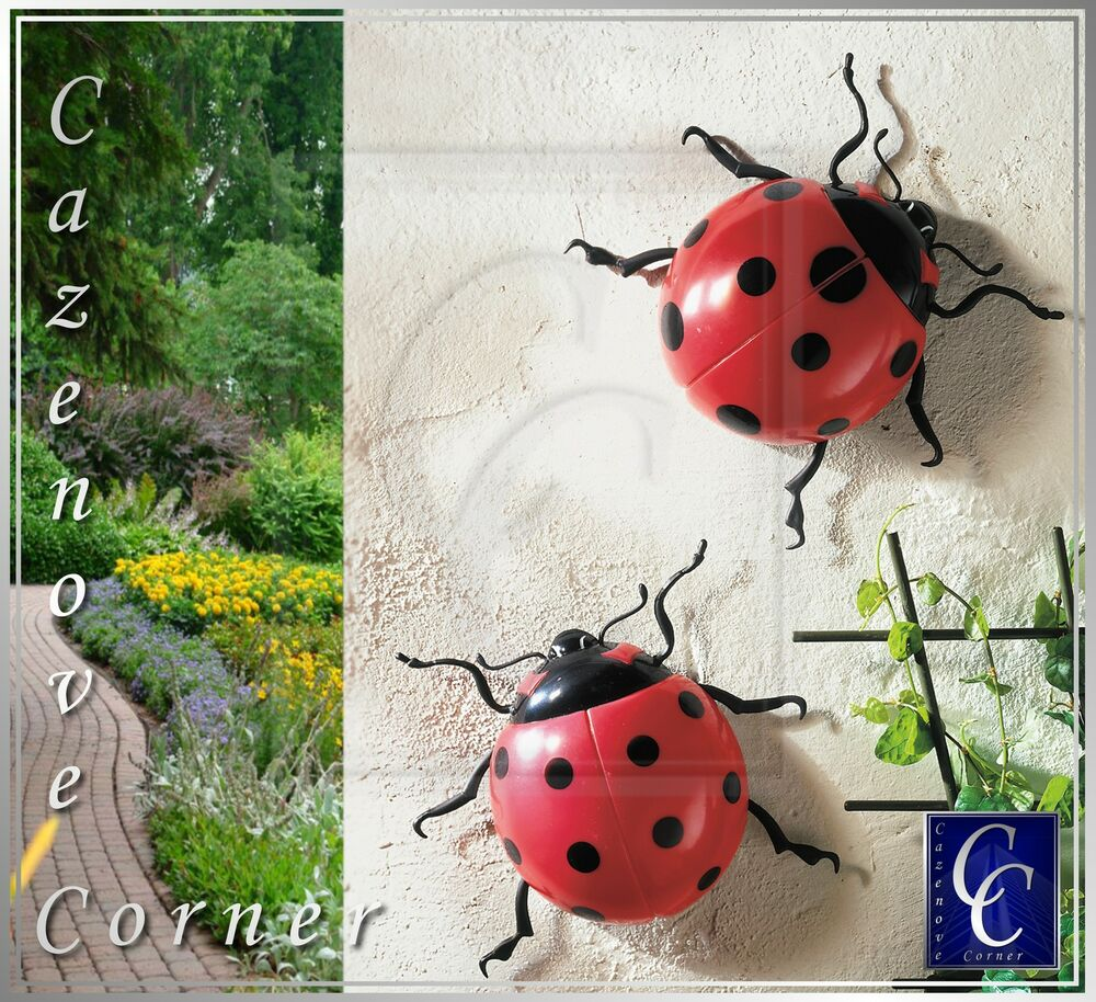 2 garden ladybird decorations wall fence tree mounted - Watch over the garden wall online free ...