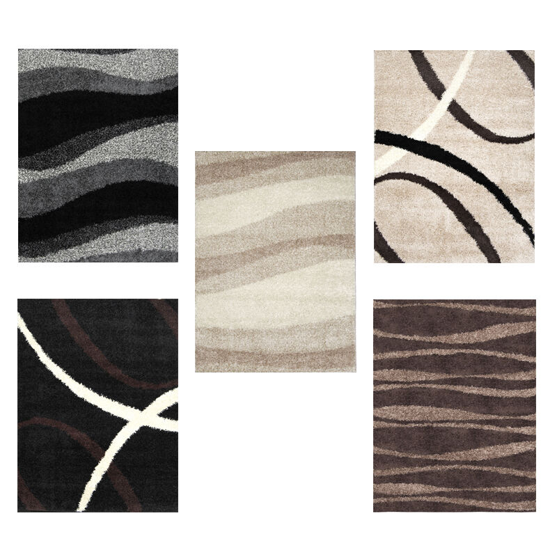 Modern Shag Abstract Area Rug Contemporary Flokati Carpet