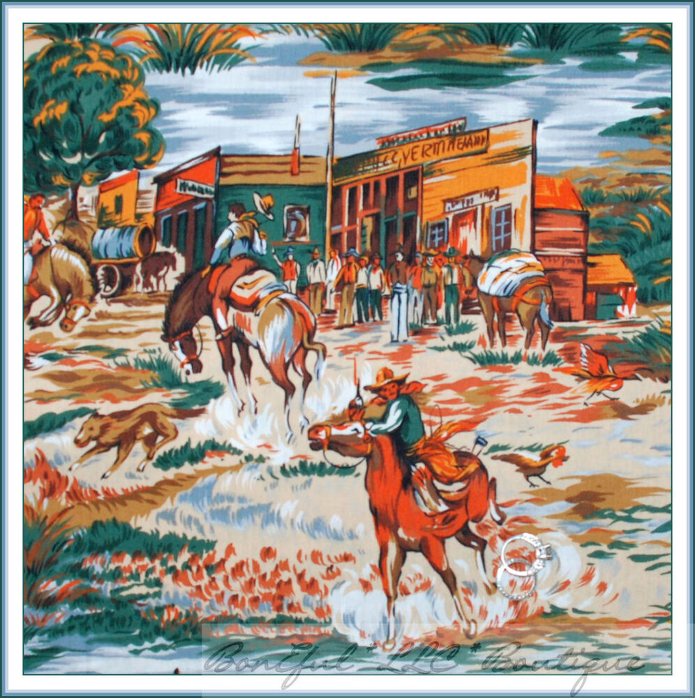 Boneful Fabric Fq Cotton Quilt Vtg Rodeo Lg Western Town