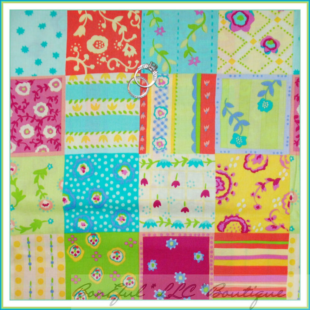 Boneful fabric fq cotton quilt rainbow flower block check for Baby girl fabric