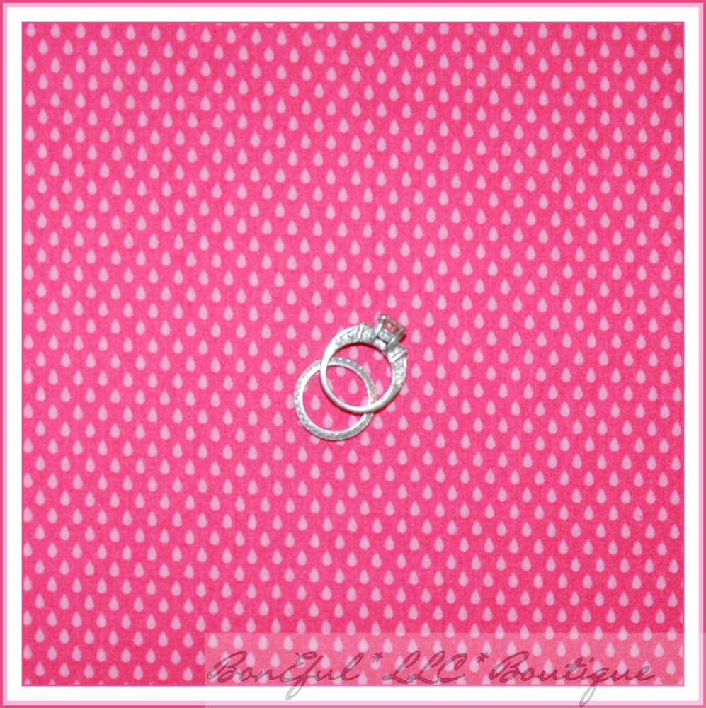 Boneful fabric fq cotton quilt pink raindrop dot bright for Baby girl fabric