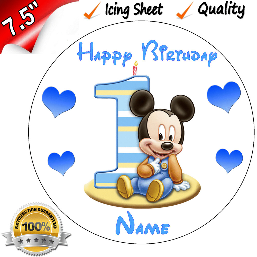 1st FIRST BIRTHDAY BOYS BABY MICKEY Edible Icing Cake