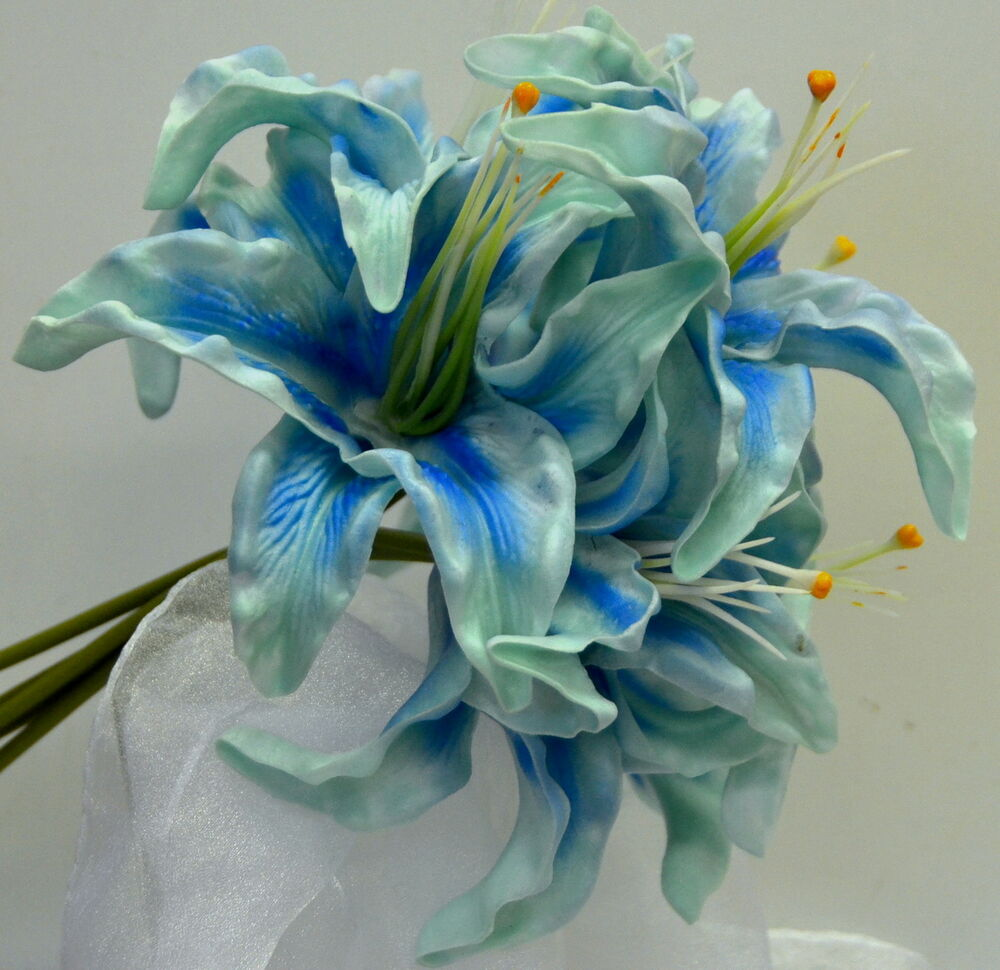 Turquoise Flowers For Wedding: WEDDING BOUQUET LATEX TURQUOISE BLUE LILY POSY REAL TOUCH