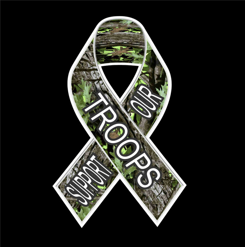 Support Our Troops Ribbon Camo Vinyl Decal Truck Window