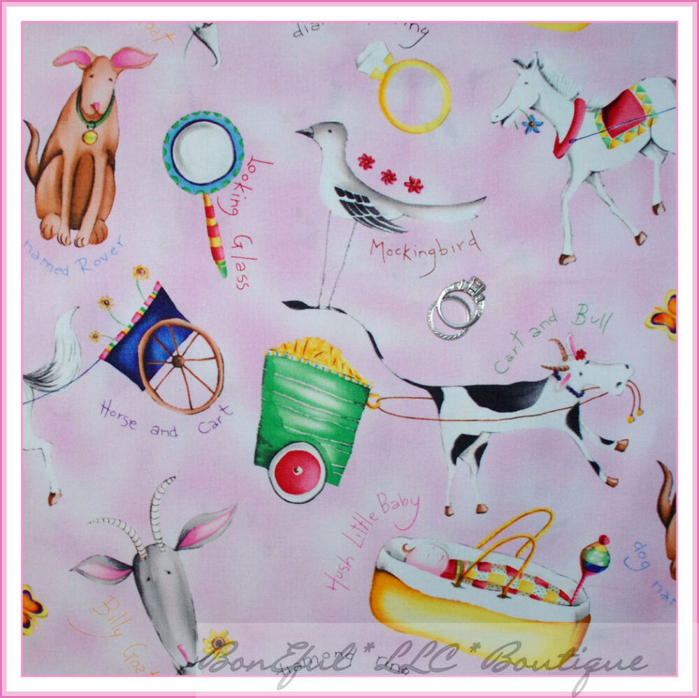 Boneful fabric fq cotton quilt vtg pink girl horse baby for Baby girl fabric