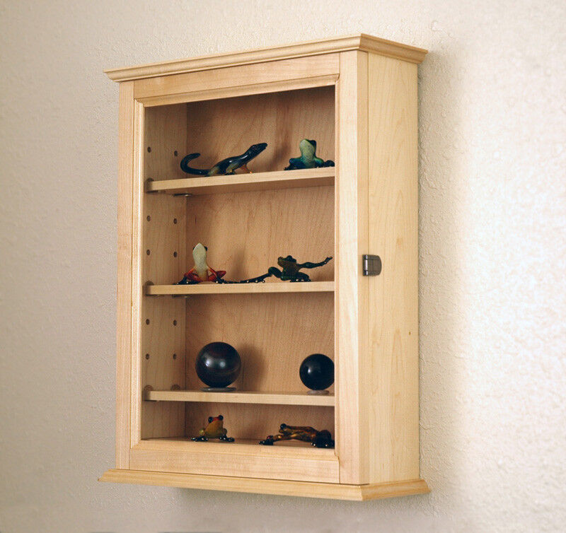 Maple Curio Display Case Wall Cabinet 4 Shelf Made In The
