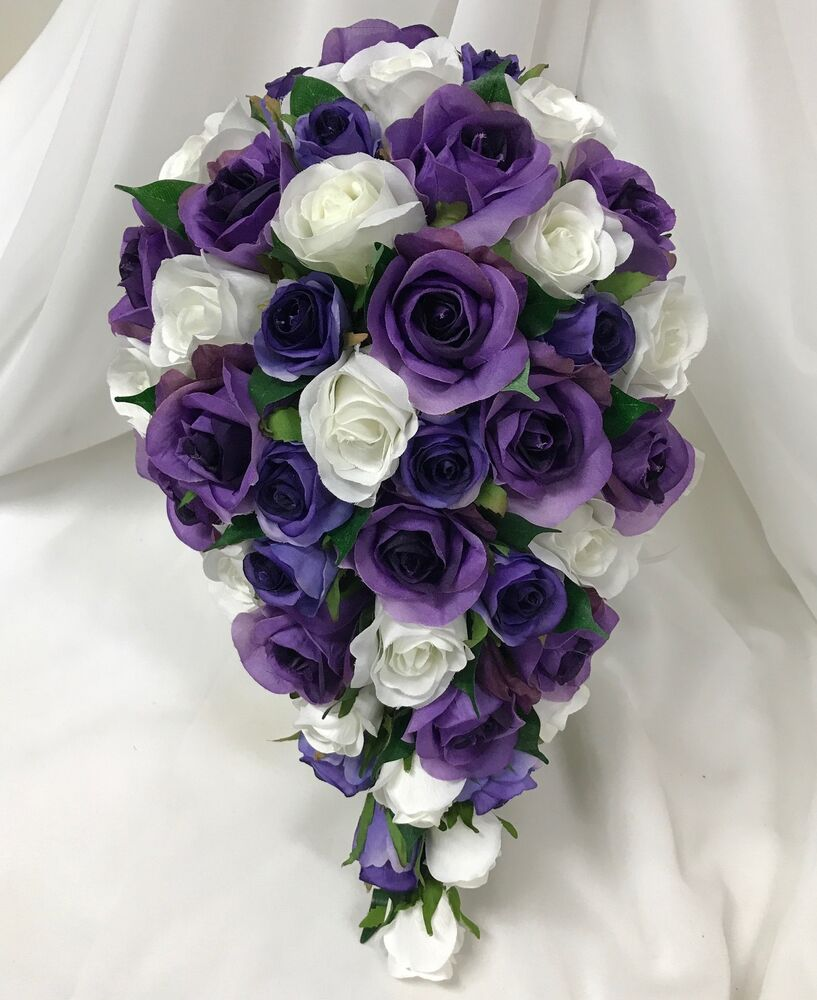 Real Vs Fake Flowers Wedding: SILK WEDDING BOUQUET WHITE CREAM PURPLE TEARDROP ROSE