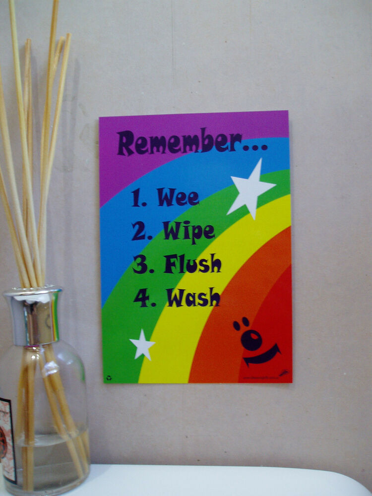 Toilet bathroom signs for home - A5 Rainbow Stars Child Kids Toilet Training Sign Positive