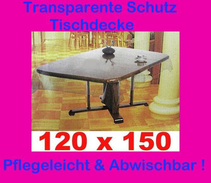 120x150 cm tischdecke durchsichtig transparent schutzdecke gartendecke vinyl ebay. Black Bedroom Furniture Sets. Home Design Ideas