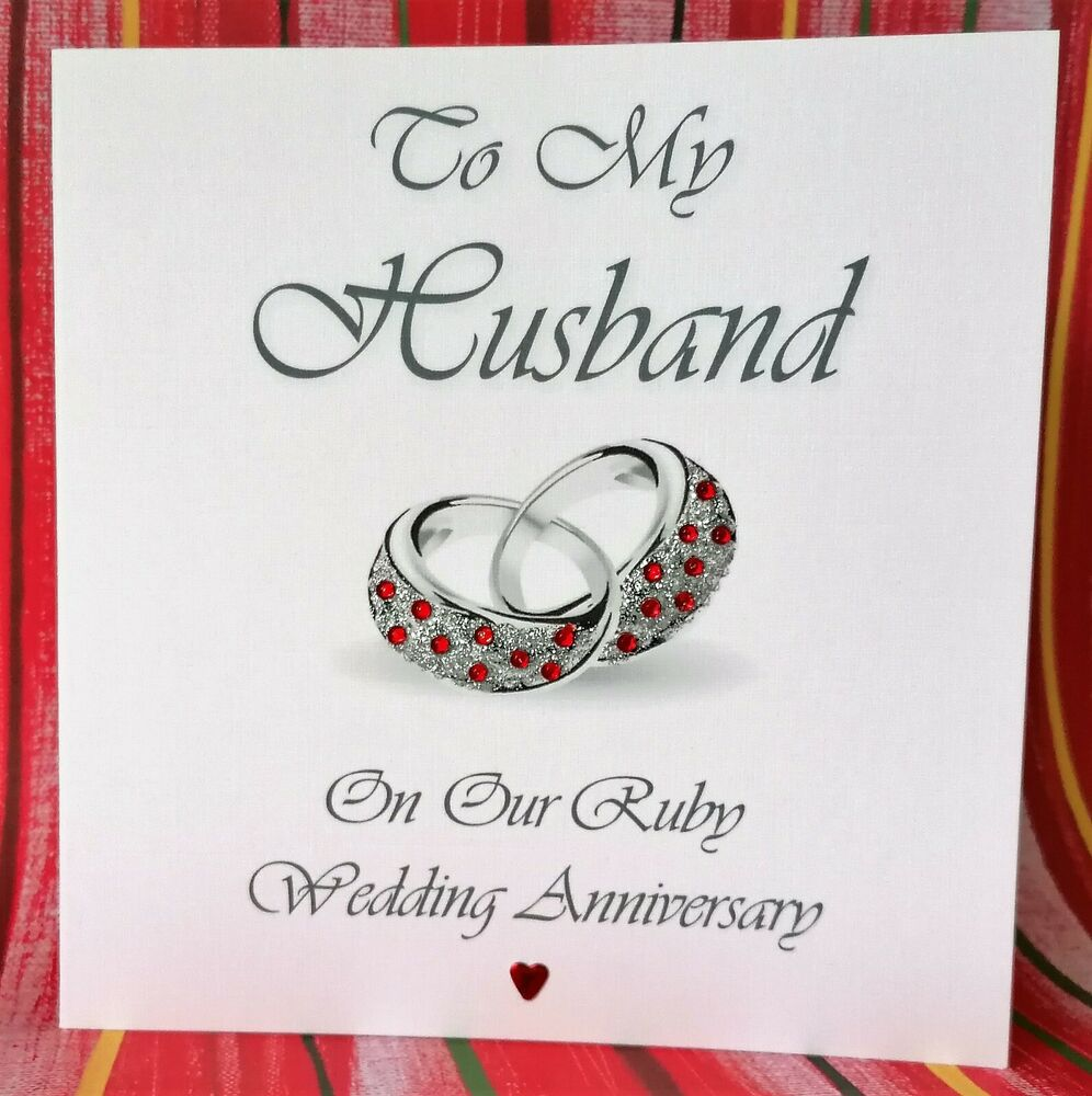 RUBY WEDDING ANNIVERSARY PERSONALISED CARD HUSBAND WIFE eBay