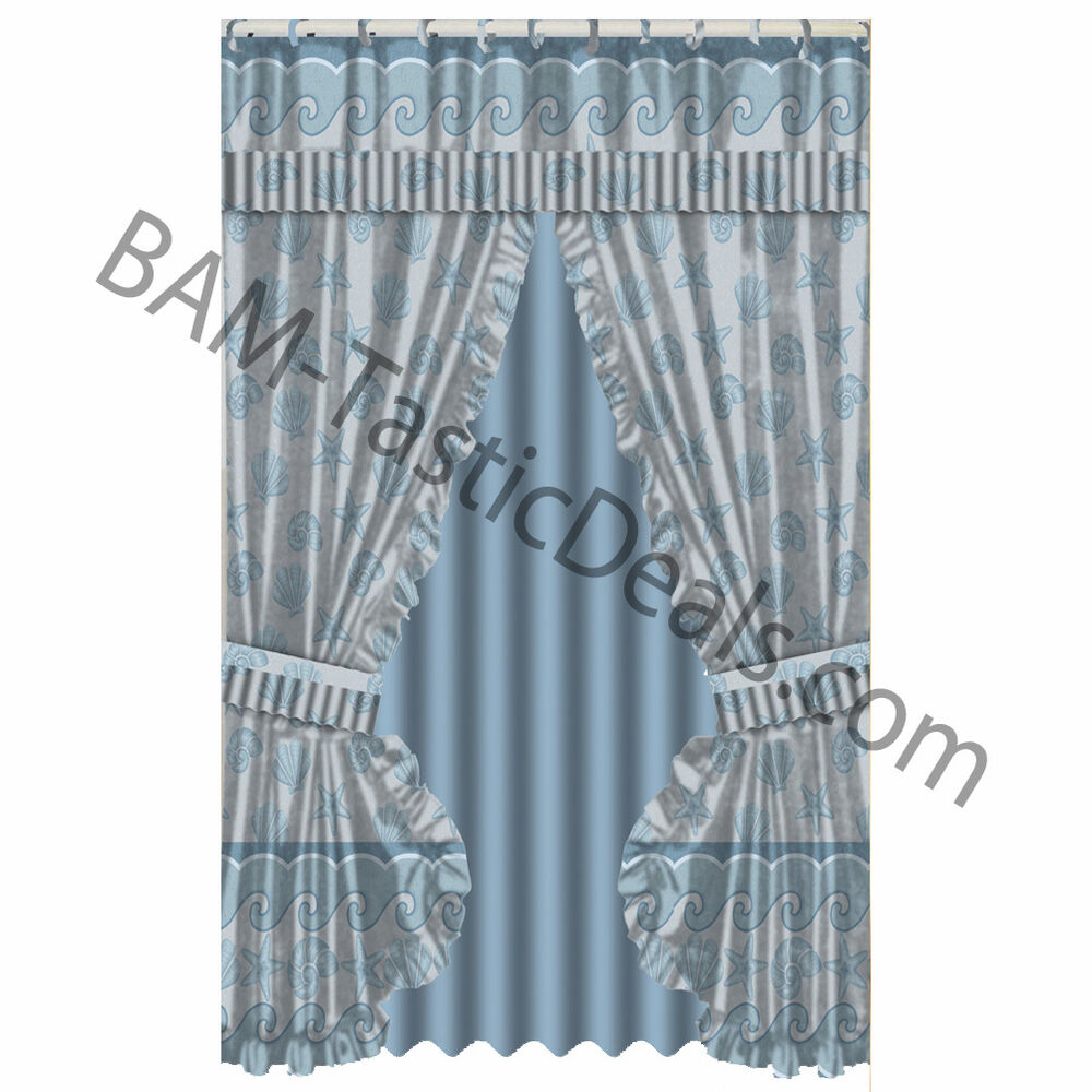 Ruffled Double Swag Fabric Shower Curtain Vinyl Liner 12 Matching Hooks Shells Ebay