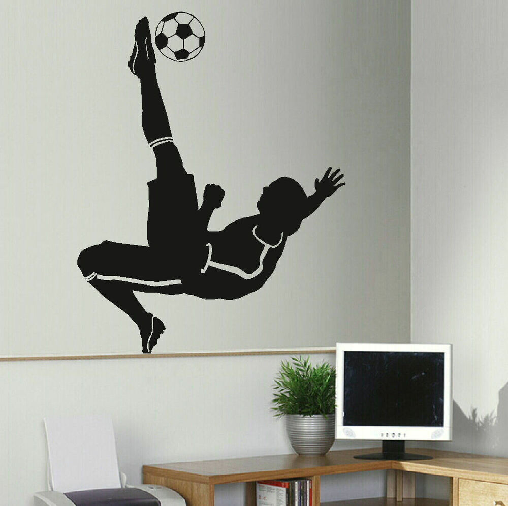 large football footballer wall mural transfer art sticker stencil poster decal ebay. Black Bedroom Furniture Sets. Home Design Ideas