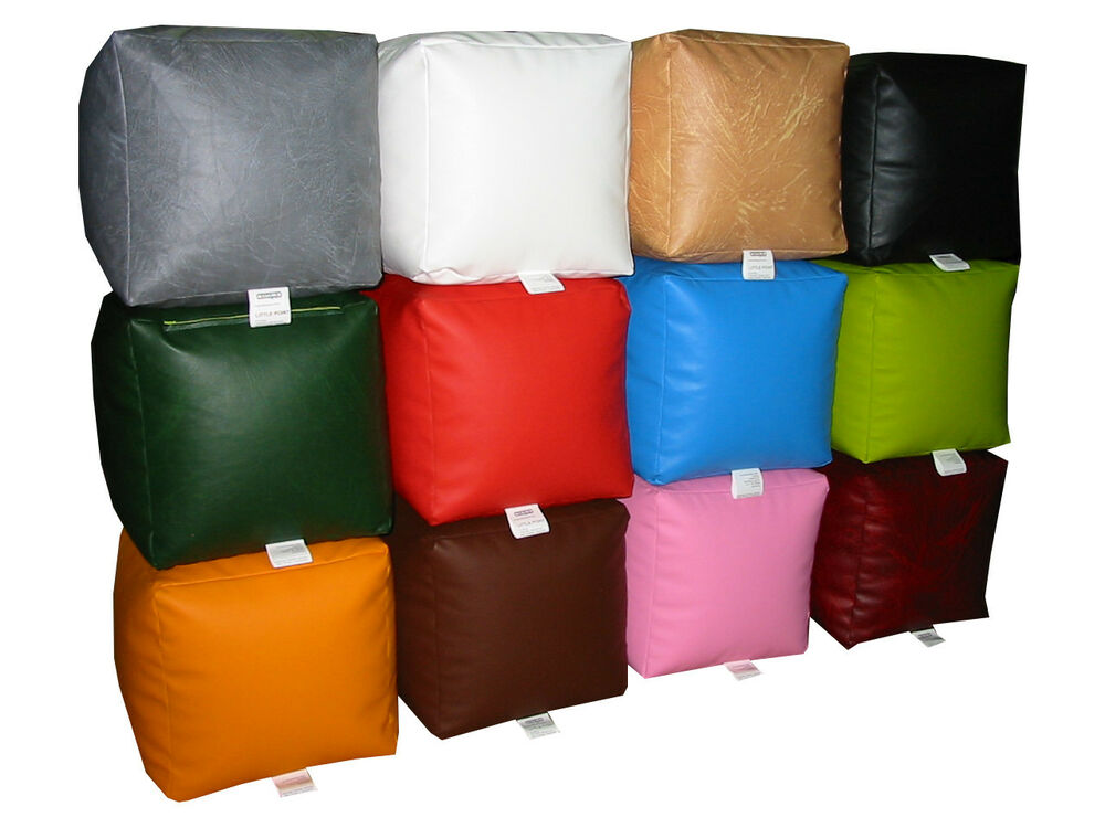 Beanbag Cube Faux Leather Seat Footrest Pouffe For Adults