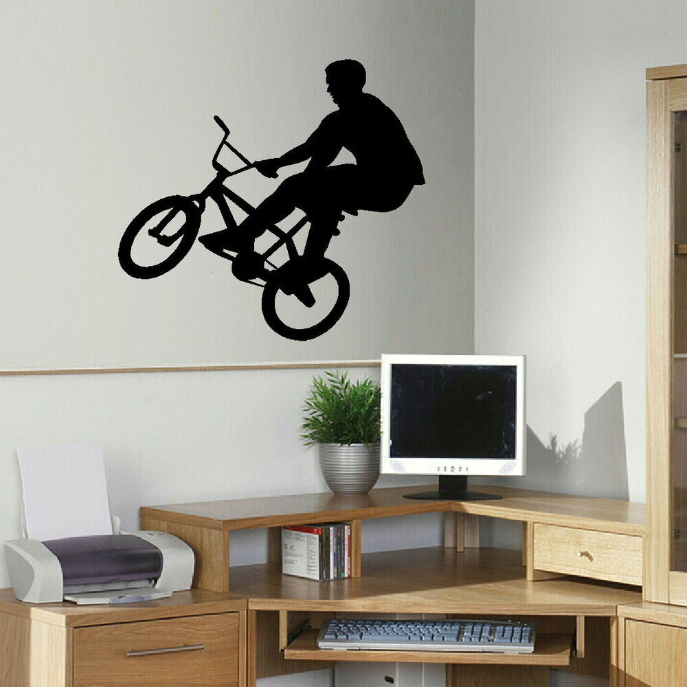 Large bmx children bedroom wall mural transfer art poster for Disney wall stencils for painting kids rooms