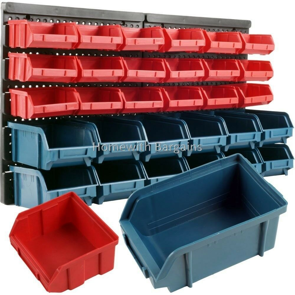 Garage Parts In A Box : Pc storage bin kit wall mount garage warehouse tools