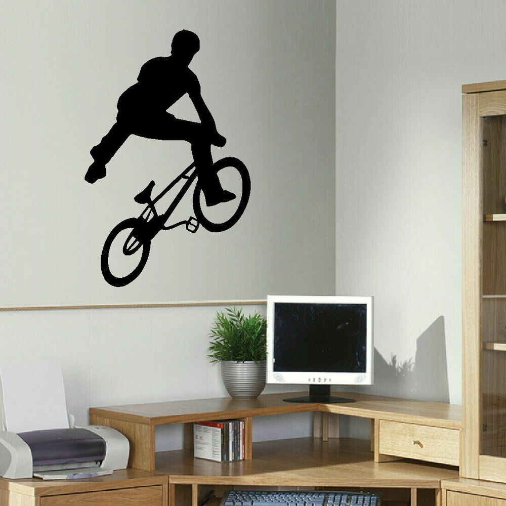 Large bmx trick teenage wall art bedroom sticker transfer for Awesome big wall decals for bedroom