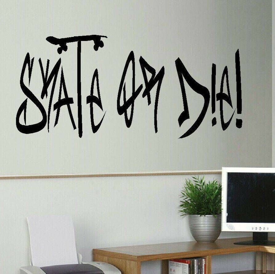Wall Art Transfer Stickers : Large skate or die quote bedroom wall mural art sticker