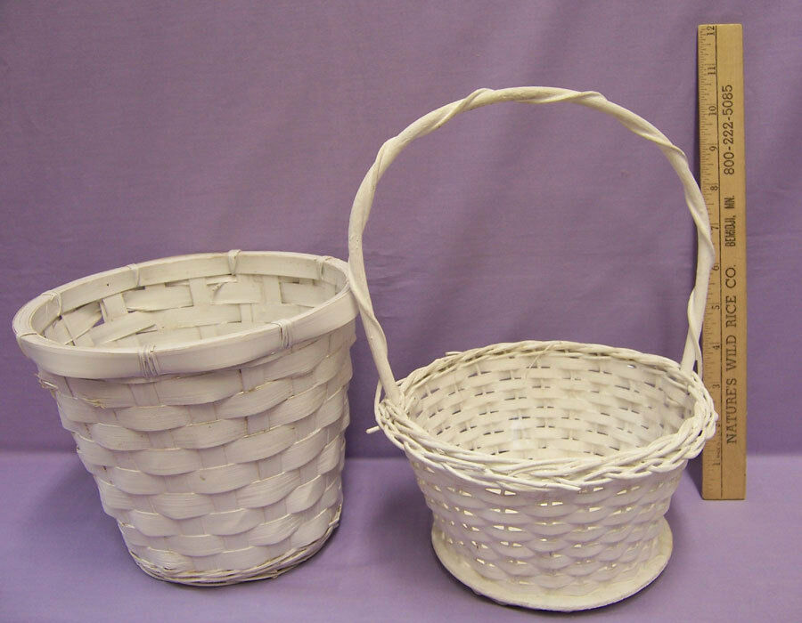 White Wicker Basket With And Without Handle Flower Pot