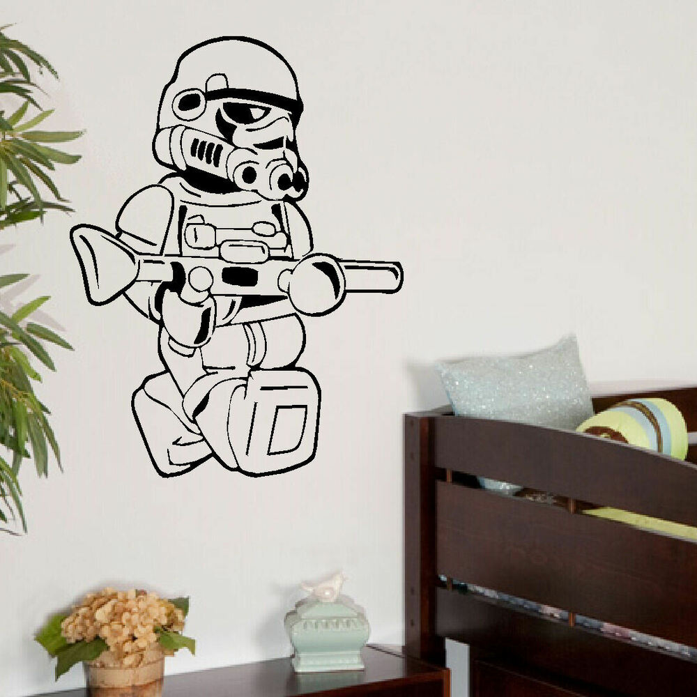 charming bedroom wall art stickers | LARGE STAR WARS LEGO MEN STORM TROOPER BEDROOM WALL ART ...