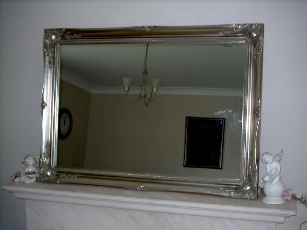 Large ornate antique style wall mirrors gold silver for Old style mirror
