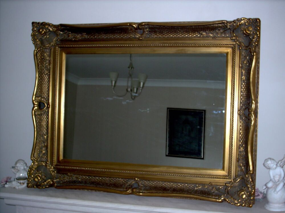 Ornate fabulous large antique gold overmantle mirror with for Big framed mirror