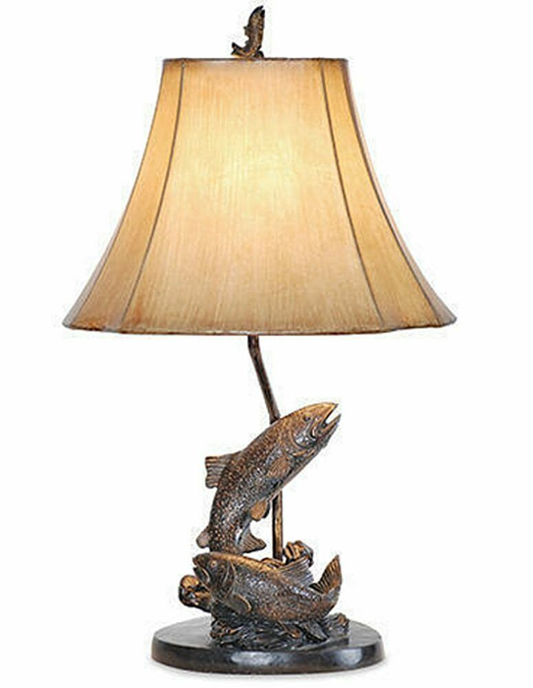 lake trout fish table lamp fishing bronze finish rustic