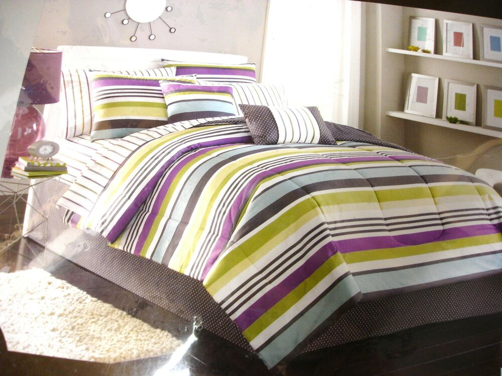 New Bed Bath Amp Beyond Twin 6 Pc Bed Set Stripe Purple