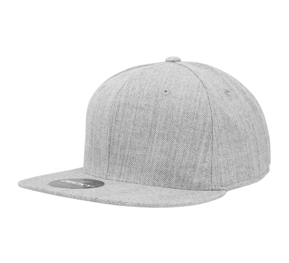 Heather Gray Fitted Flat Bill Plain Solid Blank Baseball