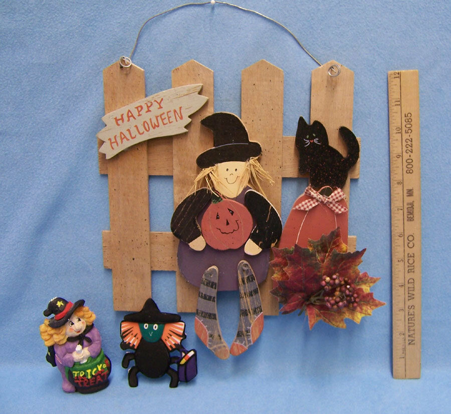 Halloween hanging plaque wall decor fabric spider magnet resin witch