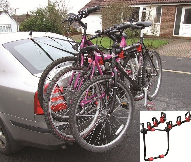 Car Secure Rear Boot Mounted Bicycle Transport Traveling Carrier Rack 3 Bikes Ebay
