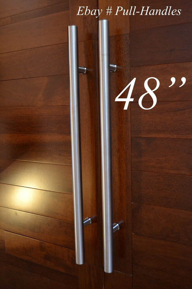 48 pull door handle hardware stainless steel entry entrance front store 757965384873 ebay for Stainless steel exterior door handles