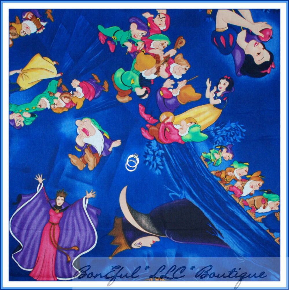 Boneful Fabric Fq Cotton Blue Vtg Antique Disney Lg Snow