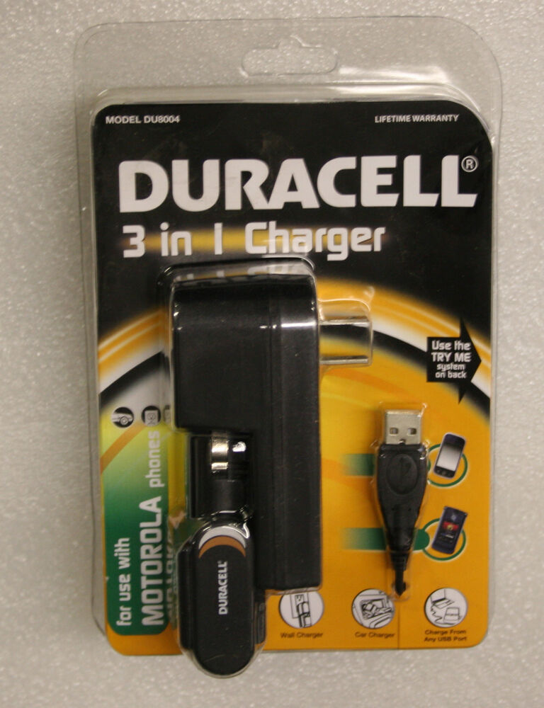 duracell 3 in 1 motorola cell phone charger model du8004. Black Bedroom Furniture Sets. Home Design Ideas