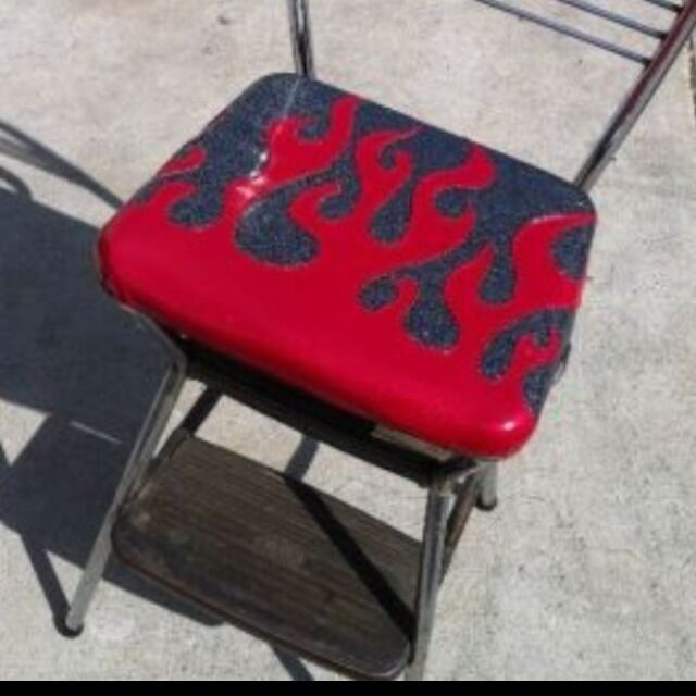 Retro Cosco Step Stool Flip Up Seat Booster Seaweed Flames