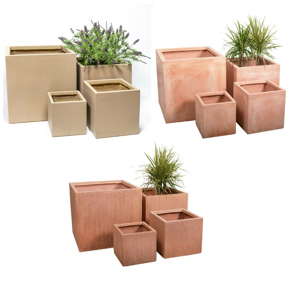Fibre Clay Fibrecotta Cube Planter Garden Plant Pot Outdoor Patio Square Tub