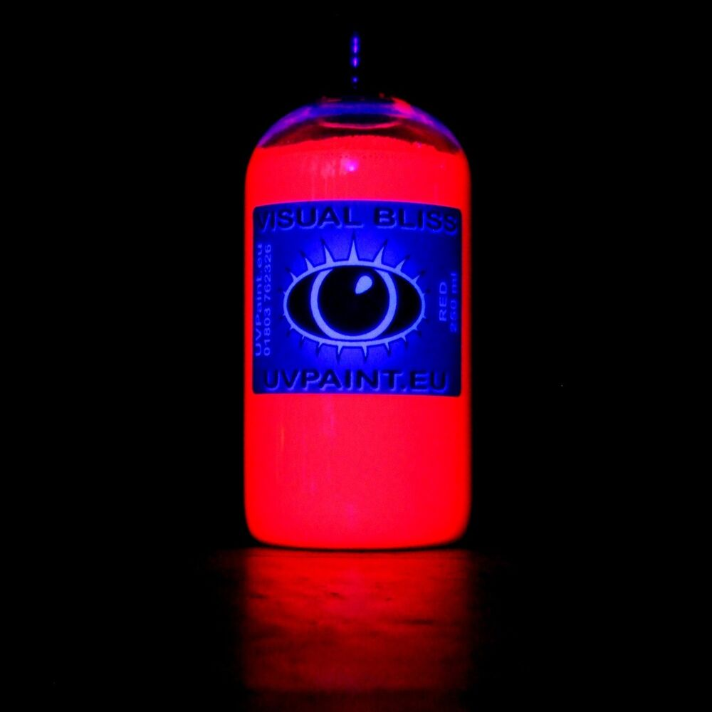 Fluorescent Light Glowing Red: 250ml Ultra Bright UV Red Paint Fluorescent Blacklight