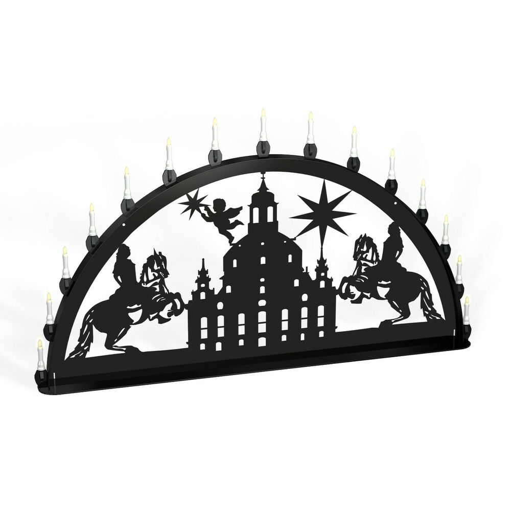 schwibbogen lichterbogen dresden frauenkirche reiter metall xxl au en schwarz ebay. Black Bedroom Furniture Sets. Home Design Ideas