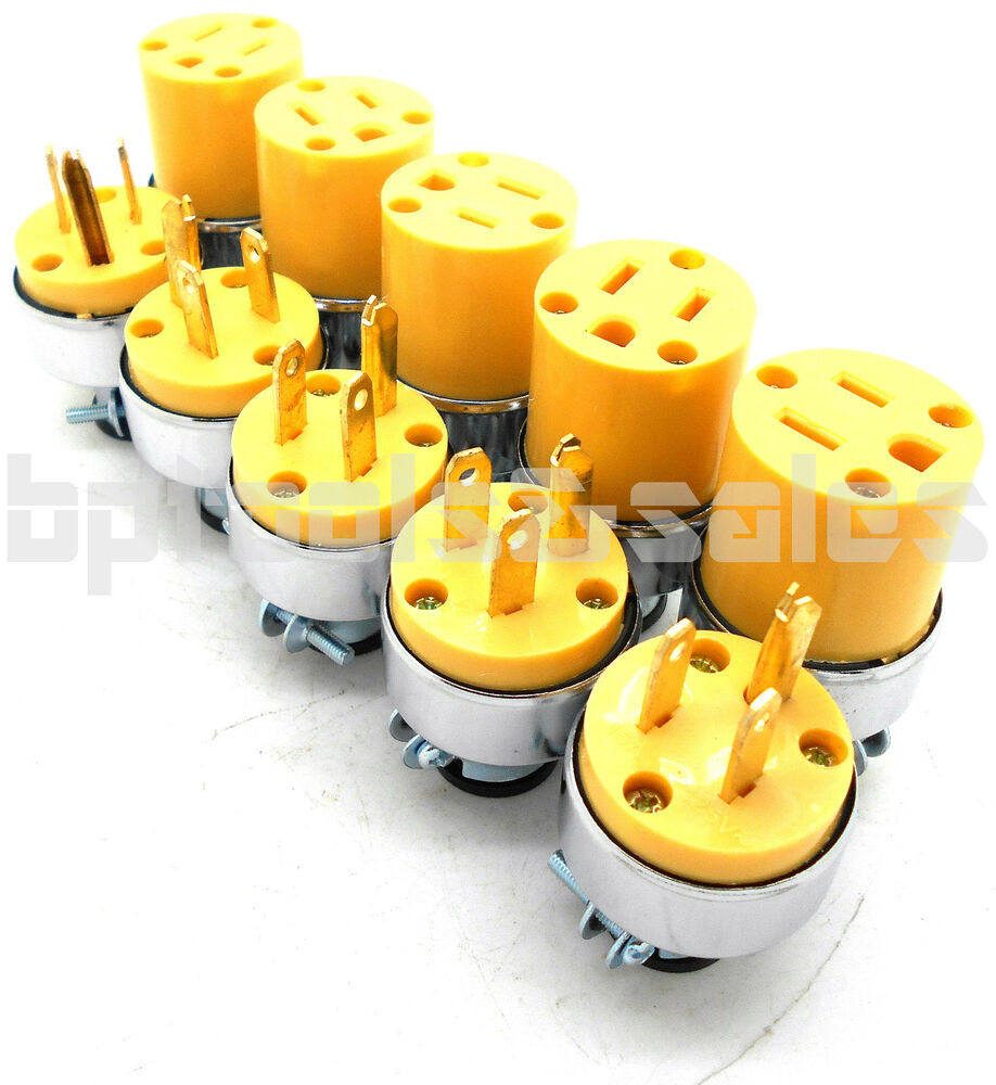 10 Pc Male Female Extension Cord Replacement Electrical Plugs 15amp 125v 3 Prong Ebay End