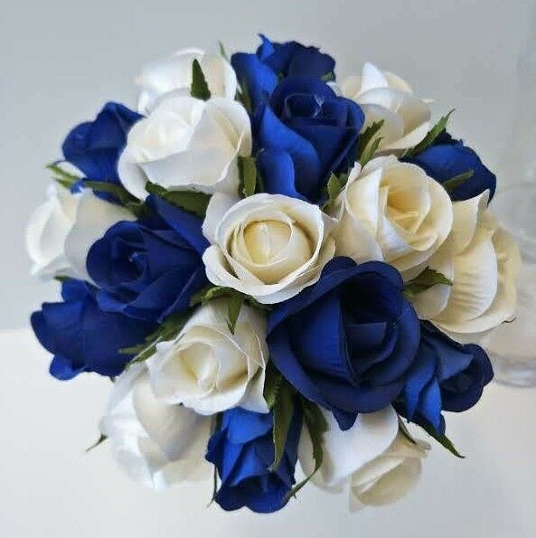 pre made wedding bouquets silk wedding flower bouquet blue ivory bud roses 6745