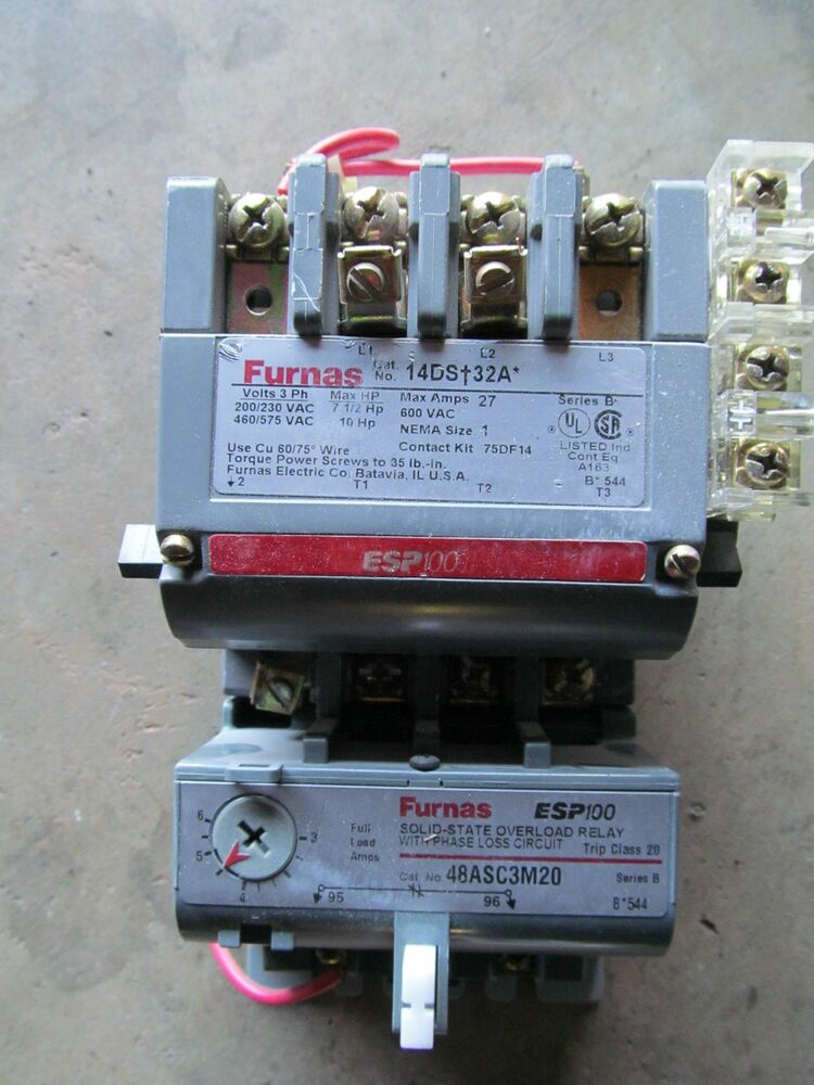 Furnas 14ds 32a nema size 1 starter 120 v coil w overload for Sizing motor starters and overloads