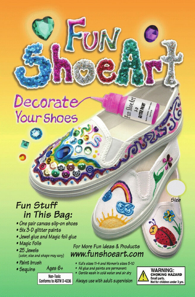 Canvas kids and adult shoe art kit decorate with paint for Teaching kids to paint on canvas